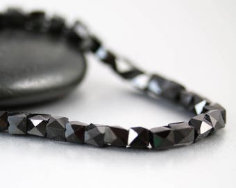 Black Spinel Faceted Cube Beads - 4 mm - Spinel Cube Beads - Per Bead
