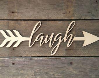 Laugh Arrow Word, Wall Decor, Wall Hanging, Inspirational, Teens Room, Childs Room, Classroom