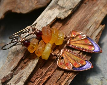 Hand Painted Copper Butterfly Wings with Ice Resin and Rough Cut Baltic Amber Nuggets