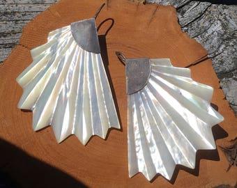 Boho Runway Mother of Pearl Flamenco Flaper Gatsby Style Fan Shell Earrings with Sterling Backs