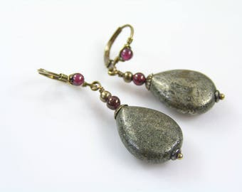 Pyrite Earrings with wire wrapped Lever Back Ear Wires, Garnet Earrings, Solid Brass Earrings, Pyrite Jewelry, Brass Jewelry, E2103