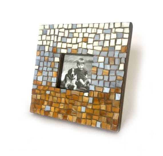 Mosaic Picture Frame, Brown Gray Cream Mosaic Frame, Chunky Mosaic Frame, Square Mosaic Picture Frame, Handsome Mosaic Frame, Guy Frame