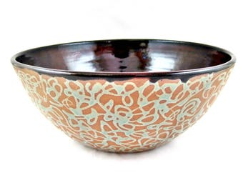 Serving bowl, pottery bowl, Modern ceramics, Ox blood and teal green wedding gift - In stock TBP