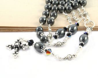 Anglican / Protestant Prayer Beads, Christian Rosary, Black & Silver