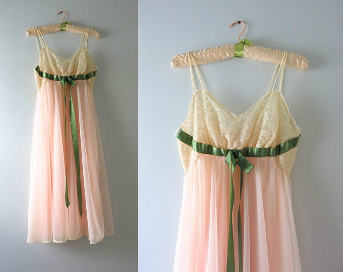 Vintage Chiffon Gown | 1960s Vanity Fair Peachy Pink Nightgown S