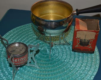 Vintage Fondue Pot, with Stand,Plus Sterno can w/stand and box