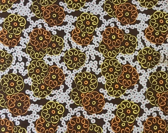 "AUG ONLY SALE Original 1960s Vintage Polyester Fabric (groovy, retro, hippie, psychedelic, mod, disco, 1960s, 1970s) Bty x 45"" wide"