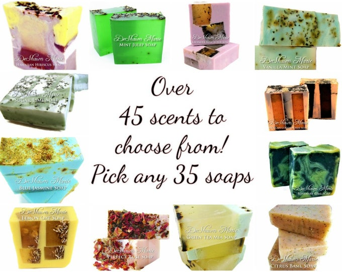 SOAP -35 very unique assorted vegan handmade soaps. Great for gifts, weddings, favors, corporate gifts.