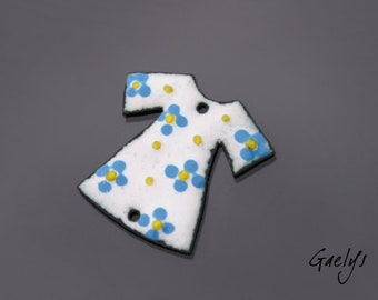 Enamel on copper - plate off white enamel / provence blue / yellow - glass drops - charm small tunic - Gaelys