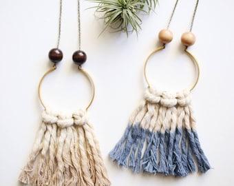 Dyed Fringe Necklace // Indigo & Tan
