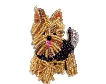 YORKIE Yorkshire Terrier beaded dog pin pendant art brooch jewelry/ Ready to Ship