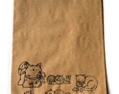 """10 Brown Paper Gift Bags, Cats Cats Cats Stamped in Black, Cat Lover Bags, Feline Theme 9.25"""" x 6.25"""",  Party Favor Bags, Takuniquedesigns"""