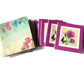 9  Mini Note Cards, Small Floral note cards, 2 sizes and designs, Green Blue Dark Pink,  Blank inside, Takuniquedesigns