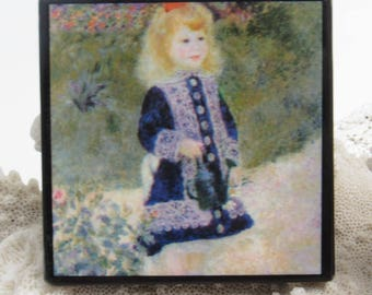 Vintage Picture Masterpiece Button Renoir Girl With Watering Can P8016