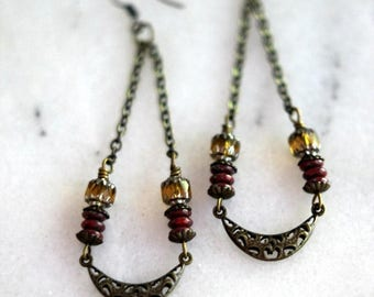 50%OFF Boho Earrings, Antiqued Brass Filigree, Long Dangles, Red, Golden Yellow, Bohemian Crescent Moon