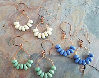 Copper Glass Droplet Earrings, Ivory, Green, Blue, Hammered Copper, Copper Hoops