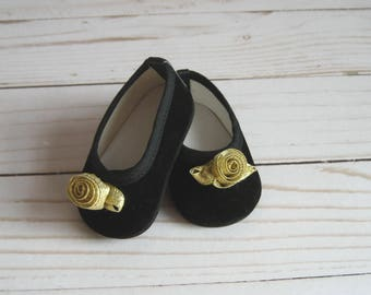 American Doll Accessories-Doll Shoes-Made to fit AMERICAN GIRL DOLLS, Black Velvet Shoes with Gold Roses Fit American Girl Dolls