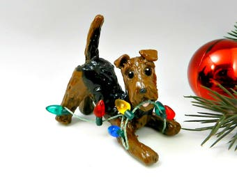 Airedale Terrier Christmas Ornament Figurine Lights Porcelain Clay