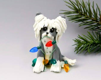 Chinese Crested Christmas Ornament Figurine Lights Porcelain
