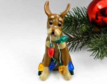 Doberman Pinscher Red and Rust Miniature Pinscher Christmas Ornament Porcelain