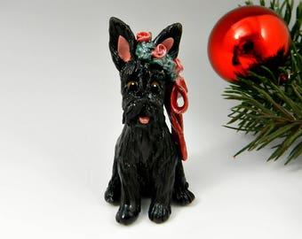 Scottish Terrier Black Christmas Ornament Figurine Wreath Porcelain