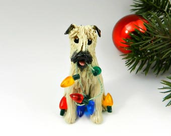 Soft Coated Wheaten Terrier Christmas Ornament Lights Porcelain