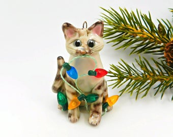 Siamese Lynx Point Cat Christmas Ornament Figurine Porcelain