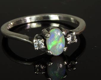 Natural Australian Opal and White Sapphires Handset in .925 Sterling Ring - ON SALE NOW