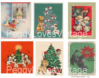 Christmas Puppies 2 Digital Collage from Vintage Christmas Greeting Cards - Instant Downloadut Outs