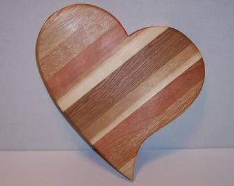 Primative Heart Shaped Cheese Cutting Board Handcrafted from Mixed Hardwoods