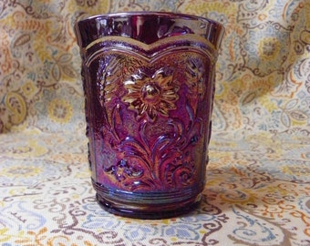 Red Imperial Fieldflower Carnival Glass Tumbler