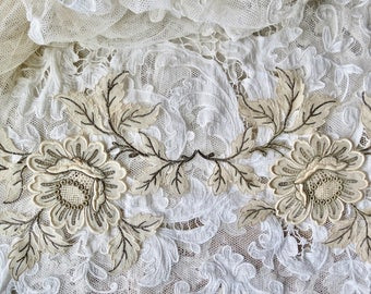 Vintage Lovely Hand Made French Silk Chiffon And Metallic Thread Rose Applique