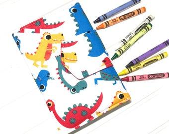 Dinosaur crayon wallet, Dinosaur toy, Crayon roll up, Crayon storage, Kids travel toy,  kids coloring tote, Crayon case, Boys wallet, Dino