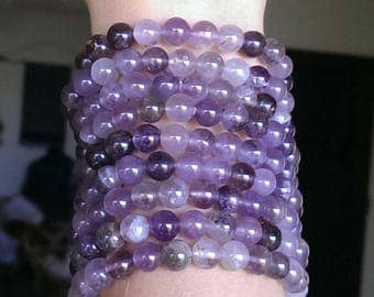1 Auralite- 23 Crystal Bracelet! Delicate and Showy 8mm Auralite Beads with Cosmic Inclusions Smoky Quartz, Amethyst, Citrine, Rare metals!