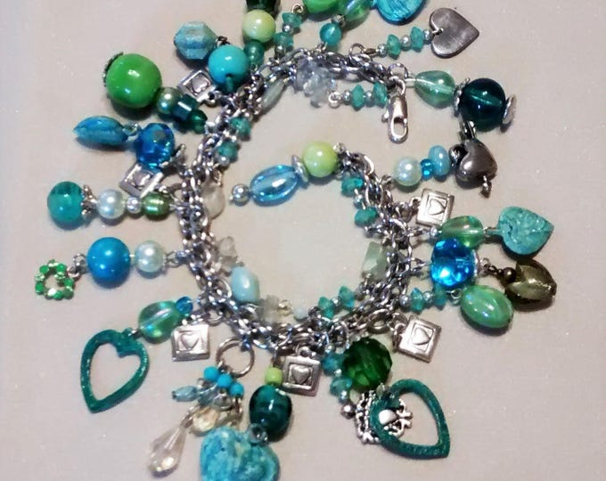 Featured listing image: MJ-125 Teal and Green Heart Charm Bracelet