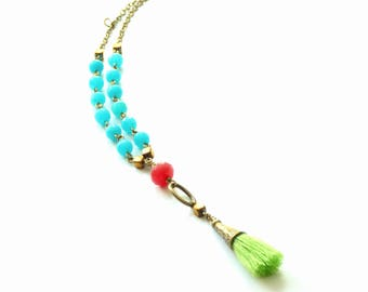 Colorful necklace,Candy color necklace,Tassel necklace,Tassel summer necklace,Colorful jewelry,Boho necklace,Boho jewelry,Summer jewelry