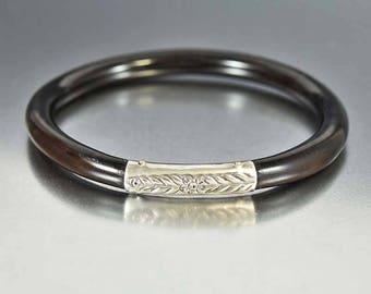 Vintage Black Coral Bracelet | Sterling Silver Bracelet | Forget Me Not Engraved | Vintage Art Deco Chinese Bracelet | Stacking Bracelet