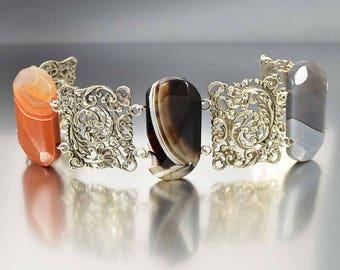 Antique Banded Agate Bracelet | Victorian Silver Filigree Bracelet | Montrose Carnelian Bracelet | Antique Bracelet | Scottish Jewelry