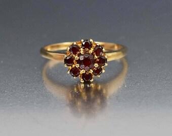 Vintage 10K Gold Garnet Ring | Flower Cluster Ring | Alternative Bohemian Engagement Ring | January Birthstone Ring | 1920s Vintage Jewelry