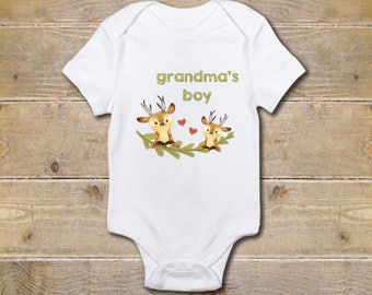Grandma Onesie, Grandmother Onesie, Grandma's Boy, Gift from Grandma, Grandma Baby Clothes, Baby Shower Gift, Nana