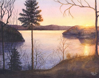 Lake Sunrise Watercolor Painting Print by Cathy Hillegas, 8x10 art, watercolor landscape, Lake Cumberland art, lake house decor, blue purple