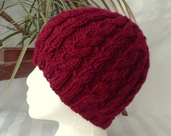 Wool/Acrylic Cable Beanie. Maroon. Brick Red. Dark Red.  Beanies for Women. Beanies for Men. Knit Hat. Womens Hats. Mens Hats.