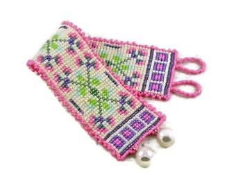Floral Beadwork Cuff Bracelet Square Stitch Beadweave Pink Purple Vintage Pearls