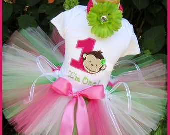 1yr, Ready to Ship, Number One Mod Monkey,  Party Outfit, Theme Party, Tutu Set,Photo Shoot