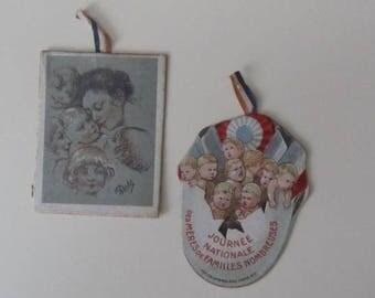 Mama - French Journee Nationale de Meres de Familles Nombreuses -   Mothers Day Card Tokens - Vintage Ephemera - 1920's