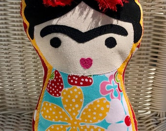 Little FRIDA KAHLO PILLOW Doll Floral Brights Ready-to-Ship