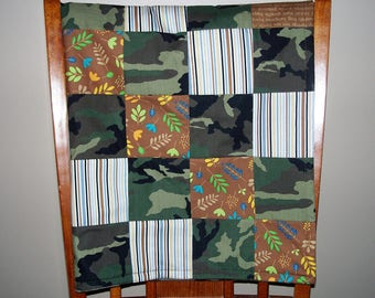Camoflage Patchwork Blanket, Quilt, Baby Blanket, Crib Quilt, Lap Quilt, Fleece Back Quilt, Brown and Green