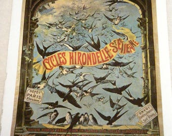 Vintage Bicycle Poster Hirondelle St Etienne Bicycles Swallows Birds Poster