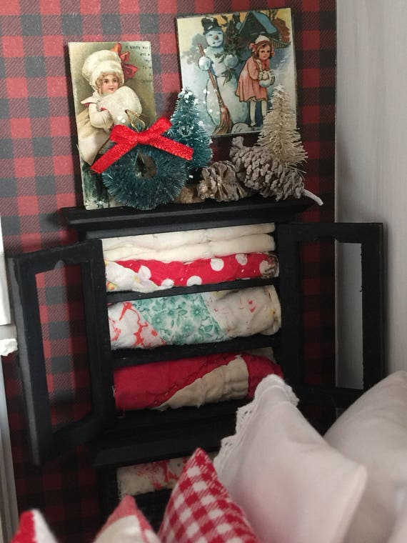 Miniature Black Quilt Cabinet and Christmas Accessories -1:12 scale