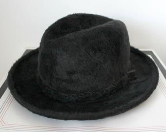 Stetson Imperial Hat, Black Fur Vintage Fedora, Mens 57 7 1/8 in Box